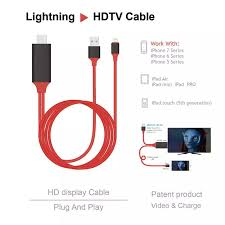 HDMI CHO IPHONE]Dây kết nối Cao cấp giữa Tivi (cổng HDMI) với Iphone Ipad  (cổng Lightning) (iPhone 5 6 7 8 X - IOS 8-10-12) Cáp HDMI nối điện thoại  với ti