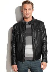lyst kenneth cole reaction faux leather ribbed moto jacket in