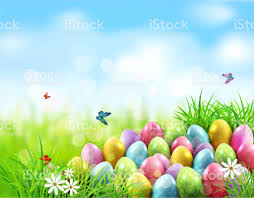 green grass blue sky flowers. Easter Eggs In Green Grass With White Flowers, Butterflies On Blue, Blurred , Natural Blue Sky Flowers F