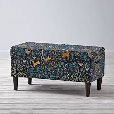 woodland patterned storage bench  the land of nod