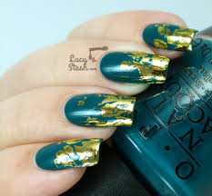 Distressed Gold Nail Foil Design with TUTORIAL - Lucy's Stash