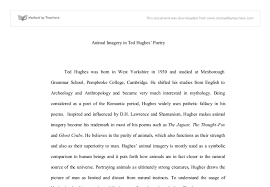 animal imagery in ted hughes poetry the jaguar the thought fox document image preview