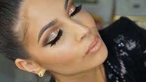 4 golden glitter smokey eye makeup