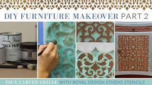 diy furniture makeovers. diy furniture makeover part 2 how to stencil a faux carved grille trellis design youtube diy makeovers