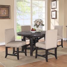 modus round yosemite 5 piece round dining table set with upholstered chairs com