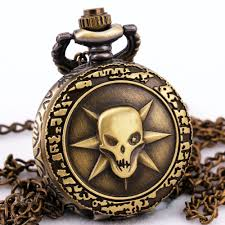 mens watch box personalized promotion shop for promotional mens td quartz watches handsome skull carved lid full hunter men women retro pocket watches personality chain gift box