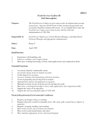 Food Service Cashier Job Description Resume