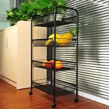 yimu 4 tier wire kitchen cart black