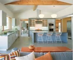 mid century armchair kitchen contemporary with island lighting vaulted ceiling