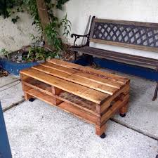 Coffee Tables Out Of Pallets Rustic Pallet Coffee Table On Wheels