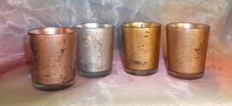 12 rose gold mercury glass votive candle holders parties weddings votives centerpieces gift