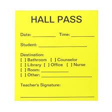 Student Hall Pass Hall Pass Pad