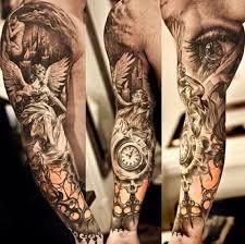 фото тату реализм рукав часы глаз ангел Tattoo Inspiration