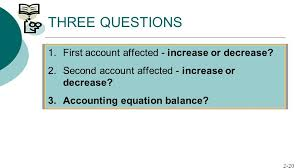 three questions first account affected increase or decrease