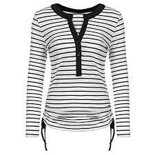 Clearance Sfe Women Casual Stripe Print Long Sleeve Button T