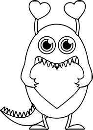Valentine Monster Coloring Pages Printable Coloring Page For Kids
