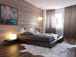 Stylish Bedroom Design Idea With Faux Animal Skin Area Rug And Black Floor  Bed Frame Plus Reclaimed Wood Wallpaper