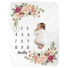 Details About Baby Newborn Milestone Blanket Flannel Photo Prop Backdrop Monthly Growth Chart