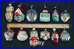 Antique Set of 12 Feather Tree Mercury Glass Christmas Ornaments ...