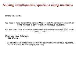 solving simultaneous equations using matrices