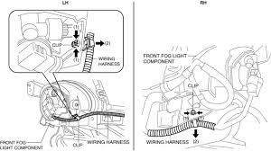mazda 3 service manual front fog light removal installation pull the wiring harness in the direction of the arrow 2 shown in the figure and remove it while detaching clip in the direction of the arrow 1