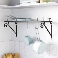 black kitchen wall mounted pot rack 3d