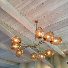 custom staccato branch globe chandelier in light amber by providence art glass custommade com