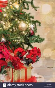 Weihnachtsbaum Dekoration Mit Bokeh Lichtern Funkelt