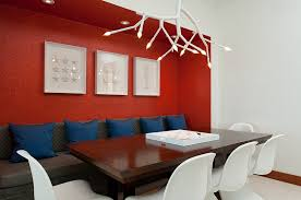 contemporary dining room uses red as an accent hue design lkid