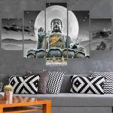 Hand made thai oil painting buddha retro face classical head portrait art india on canvas home decorative. Buddha 5 Panel Canvas Decorstar Home Decor