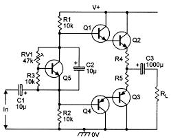 Figure 21 darlington plementary emitter follower with biasing via an lified diode q5