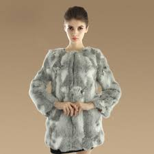 name new knitting nature rabbit fur outwear winter warm fur jacket fashion women fur coats grey