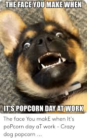 ITS POPCORN DAY AT WORK Emegeneratorne the Face You makE When It's poPcorn  Day aT Work - Crazy Dog Popcorn   Crazy Meme on ME.ME