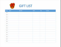 Template For Shopping List Gift Shopping Checklist