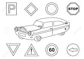 車および交通標識 塗り絵