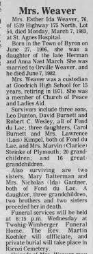 Esther March Dunton Burnett Wendlandt Weaver, Obit1983 - Newspapers.com