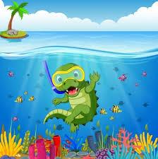 Resultado de imagen de dibujo de cocodrilo con mar