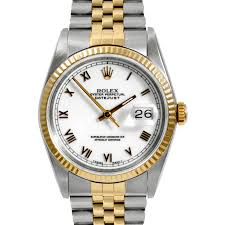mens used two tone datejusts rolex watches for swiss wrist pre owned rolex mens two tone datejust watch 16013 model white r dial