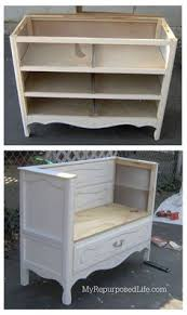 repurposed office furniture. Vintage Dresser Repurposed Into A Bench With Storage Furniture Makeover ProjectsOffice Office