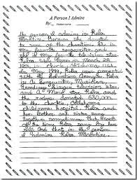 grade writing exemplar a student writing exemplars grade 5 level 1 a person i admire reba