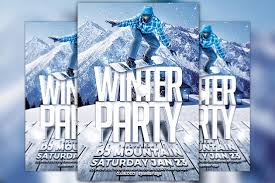Winter Ski Party Flyer Template - Flyer Templates | Creative Market Pro