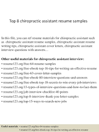 Top 8 chiropractic assistant resume samples In this file, you can ref resume  materials for ...