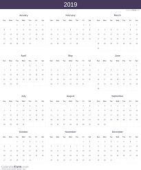Calendar Year 2019 Printable 2019 Calendar