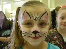 face painting cat or kitten put a light wash of white then pink