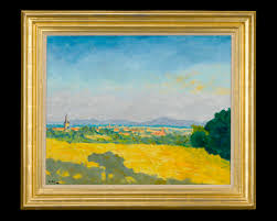 a distant view of a town in the south of france by sir winston churchill signed