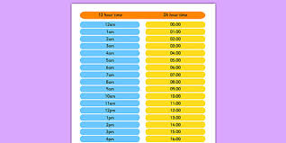 24hr Conversion Chart 24 Hour Clock To 12 Hour Clock Chart Bedowntowndaytona Com