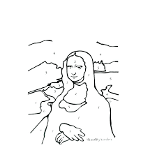 Mona Lisa Coloring Page Also Coloring Page Cute Enchanted Learning