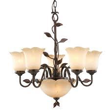 Allen Roth 7 Light Eastview Bronze Chandelier Love The Amber Lily Glass Allen Roth 7 Light Eastview