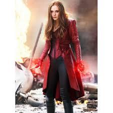 captain america scarlet witch long maroon coat women long coats