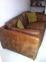Vintage Antique Style Tan Leather Sofa  EBay1